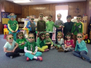 Afternoon 4 year olds sporting some St. Patty's glasses!