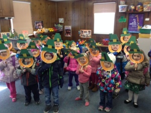The 3 year olds as bearded leprechauns!